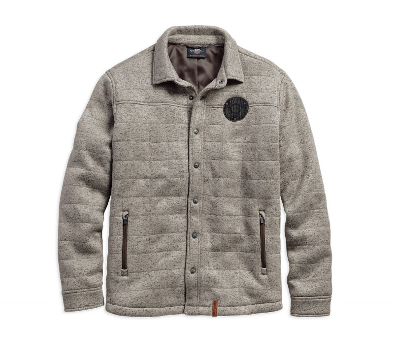 SHIRTJACKET-QUILTED,L/S,KNT,GR